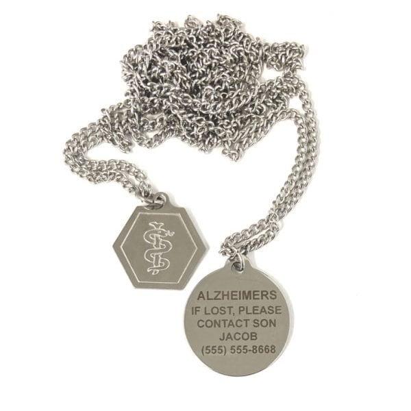 Medical Alert Necklace Engraved