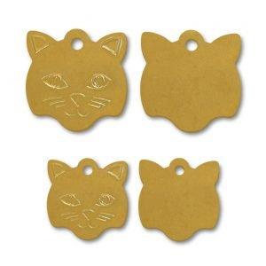 Brass Cat Face Shape Blank Tags