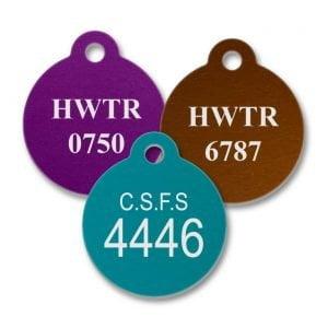 Round Aluminum Engraved Tag S-11AL, S-12AL, L-11AL, L-12AL