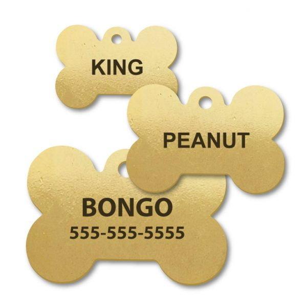 Brass Dog Bone Shape Engraved Tags