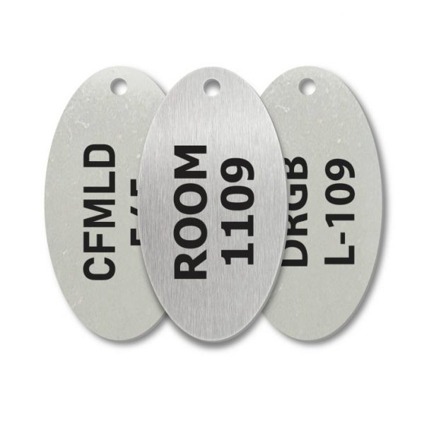 Stainless Steel Oval One Hole Engraved Tags